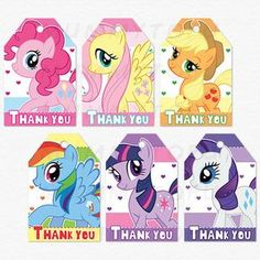 Mi fiesta de cumpleaños de pequeño Pony gracias Favor etiquetas - descarga inmediata imprimible fiesta DIY por mummytofu