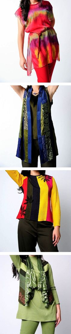 """090. Dorothy Skea: """"My designs are made of hand-dyed new and recycled fabrics. I design new pieces each year that will mix and match and also go with previous collections."""" fashionimages1@yahoo.com"""