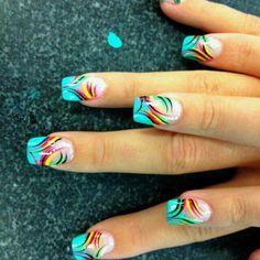 90 + Perfect Nail Art Design e colori per l& - Nail looks - Cruise Nails, Vacation Nails, Diy Nail Designs, Fingernail Designs, Pretty Nail Art, Funky Nails, Rainbow Nails, French Tip Nails, Best Acrylic Nails