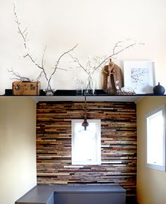 Recycled pallet wall.