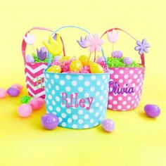Easter baskets $17.50 #easter #basket #monograms #easterbasketideas #kaileysmonogram