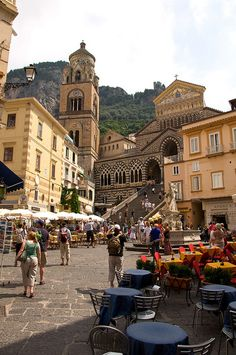 Amalfi Town Square, Italy. My mom and I finished a bottle of limoncello on those stairs!! :)