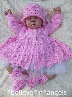 Knitting Pattern Ksb 56 *Valentina* To M - Diy Crafts Crochet Baby Cardigan Free Pattern, Baby Knitting Patterns, Baby Patterns, Hat Crochet, Crochet Dresses, Dress Patterns, Cardigan Bebe, Sweater Hat, Knit Baby Sweaters