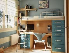 modern study  teenage room  love all the storage for this loft bed/desk combo. colors she'd like too, i think. :)