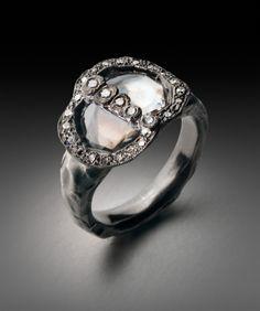 palladium, 2 diamond slices, small round diamonds