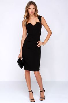 We'd like to propose a toast to the glamorous and sexy style of the Rubber Ducky Cocktail Party Backless Black Dress! A sultry sleeveless bodice shows off with a large open keyhole in back, and a unique plunging neckline in front. Woven black fabric keeps up the classy appeal with a midi-length bodycon silhouette that's perfect for cocktail hour. Hidden back zipper. Fully lined in black stretch knit. Self: 72% Rayon, 28% Polyester. Lining: 100% Polyester. Dry Clean Only. Made with Love in…