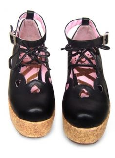 2 2/5'' Black Platform Ankle Strap PU Lolita Shoes