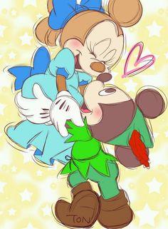 Disney Mickey et Minnie en Peter Pan et Wendy Disney Pop Art, Disney Day, Arte Disney, Baby Disney, Disney Love, Disney Magic, Mickey E Minie, Disney Mickey, Mickey Mouse Wallpaper