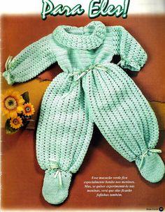 Crochê Tricô do Bebê: Macacão em crochê para meninos