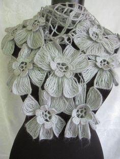 Grey Flowers  Shawl by StudioCybele on Etsy, $48.00