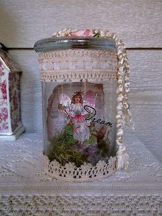 Victorian Paper Scrap Captured Fairy in A Jar Shabby Chic Cottage Victorian | eBay