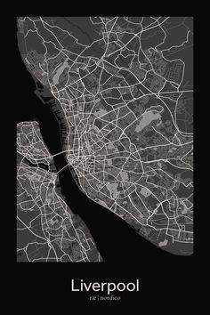 Liverpool, England Map Print