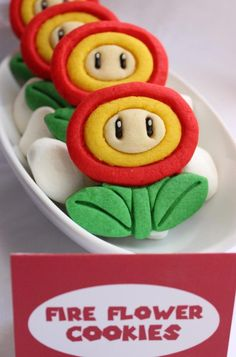 Mario Fire Flower Cookies for National Video Game Day
