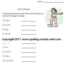 """Get In Shape"" is a fun word scramble page for early learners. We have lots more worksheets, too!"