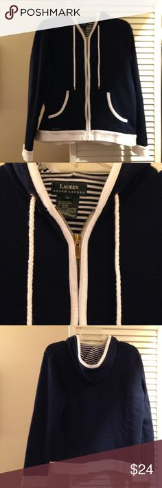🐎 Ralph Lauren hoodie 🐎 EUC - Supremely soft cotton makes this nautical-inspired zip up hoodie incredibly comfortable and cute! Zipper pull has some tarnish and is reflected in price. Long sleeves with rib cuffs and 2 pockets. Hood has stripes. Lauren Ralph Lauren Tops Sweatshirts & Hoodies