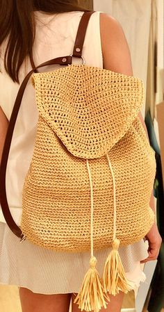Lovely And Sweet Crochet Bags Pattern Ideas for This Year Part crochet bag pattern; Crochet Backpack Pattern, Bag Pattern Free, Crochet Tote, Bag Patterns To Sew, Crochet Handbags, Pattern Ideas, Crotchet Bags, Knitted Bags, Ideias Fashion