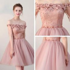 Chic Homecoming Dresses Short Pearl Pink Off-the-shoulder Tulle Cheap Prom Dress AM022
