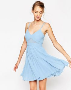Платье-майка со складками и прозрачными вставками ASOS - Bright mint