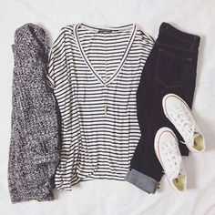 Love the stripes, and the cozy fall look of this outfit.  Maybe in a fall color...