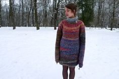 Handmade oversized colourful Alpaca wool tunica / long wool sweater with a collar by TASSSHA on Etsy