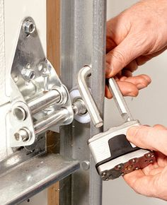 Garage Security Tips - Lock the track when you leave home for an extended period. Garage Security Tips - Lock the track when you leave home for an extended period. Garage House, Garage Doors, Garage Signs, Garage Shop, Garage Cupboards, Garage Bar, Base Cabinets, Dream Garage, Front Doors