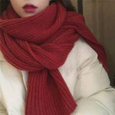 Aesthetic Girl, Aesthetic Clothes, Cooling Scarf, Red Scarves, Cool Fabric, Girls Wear, Korean Beauty, Simple Style, Knitting