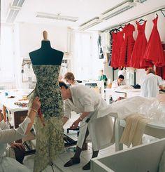 Valentino | Seamstresses in the eveningwear atelier.