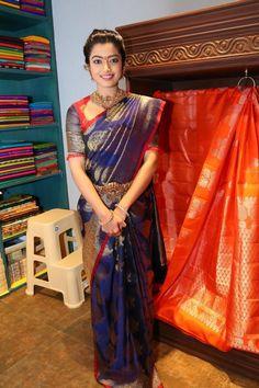 Indian Actress Rashmika Mandana Photos In Traditional Blue Saree - Indian Saree Collection Beautiful Girl Indian, Beautiful Girl Image, Beautiful Saree, Beautiful Indian Actress, Wedding Saree Collection, Cute Girl Face, Saree Photoshoot, South Indian Actress, South Actress