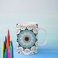 WISDOM Mandala Mug DIY Color Your Own Mandala by Exaltation