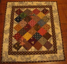 One patch on point, doll quilt, from whataloadascrap.blogspot.com
