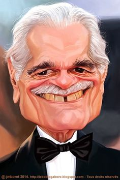 Omar Sharif (Caricature) Dunway Enterprises: http://dunway.com - http://masterpaintingnow.com/how-to-draw-everything?hop=dunway