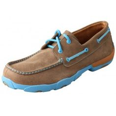 Twisted X Men's Driving Mocs Brown Bomber with Neon Blue Accents Boat Shoe