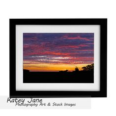 Sunset framed pictures, A3 + British weather photo artwork