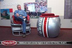 """HELMET CHAIRRSSS!!! LOL! Who says it has to be a """"Man Cave""""?? Mine will be a Buckeye Cave!!"""
