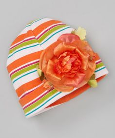 Take a look at this Orange Stripe Rose Beanie by Tesa Babe on #zulily today!