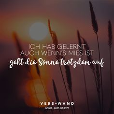I've learned even when it's bad, the sun still rises- bosses- everything is now – VISUAL STATEMENTS® – Motivational Motivational Songs, German Words, Learn German, Visual Statements, Song Quotes, Music Lyrics, In My Feelings, Told You So, Positivity