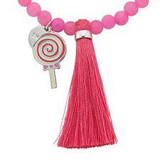 """Lollipop """"Sweet"""" Word Charm Tassel Necklace"""