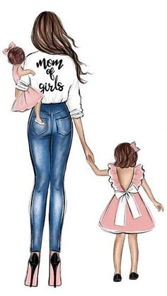 Mother And Daughter Drawing, Mother Art, Mom Daughter, Daughters, Cartoon Girl Drawing, Girl Cartoon, Cute Bunny Cartoon, Baby Tattoos, Fashion Wall Art