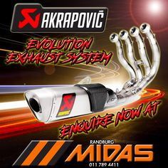 Enquire now about the new Akrapovic Evolution Exhaust System available on order through Randburg Midas. Exhausted, Motorbikes, Evolution, Facts, Website, Motorcycles, Motorcycle