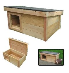 Cedar Outdoor Cat House Shelter: LEFT SIDE, SQUARE enter