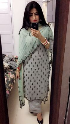 Sewing Embroidery Designs At Home Is Real Fun. Ethnic Outfits, Indian Outfits, Fashion Outfits, Trendy Outfits, Kurti Designs Party Wear, Kurta Designs, Dress Designs, Designer Punjabi Suits, Indian Designer Wear