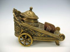Antique large fancy brass figural Chariot inkwell with pen wipe