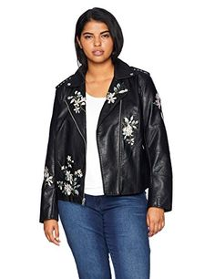 7265d0fba6fa0 SALE PRICE -  81 - Levi s Size Women s Plus Faux Leather Embroidered  Motorcyle Jacket Front asymmetrical