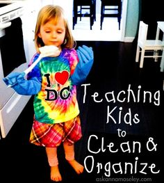 Teaching kids to clean and organize -- Ask Anna  Milo learned to wipe his spot at the table from daycare, and has been really into helping me dump things into the mixing bowl when we cook.  I want to work on more chores.