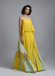 Citron yellow lehenga with net embroidered dupatta and scallop embroidered border. *This piece includes 3 - 4 inches of additional margin in the bodice/blouse to allow alterations up to - 2 dress Indian Attire, Indian Wear, Indian Designer Outfits, Designer Dresses, Indian Dresses, Indian Outfits, Mehendi Outfits, Stylish Dresses, Fashion Dresses