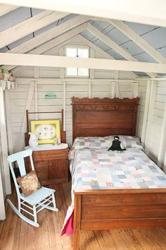A Backyard Getaway Emerges From a Grain Shed Cozy and brimming with country charm, this snug antiques-filled hideout encourages quiet pastimes