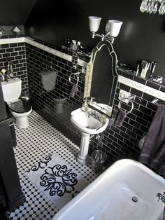 Boudoir Noir & Jewelbox Bathroom by so_tabulous, via Flickr