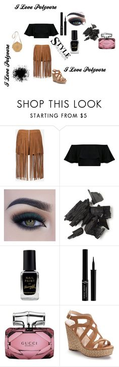 """Untitled #18"" by aida-bet ❤ liked on Polyvore featuring Sans Souci, Too Faced Cosmetics, Barry M, Giorgio Armani, Gucci and Jennifer Lopez"