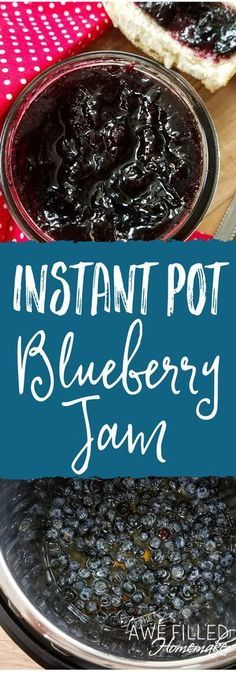 Instant Pot Blueberry Jam Instant Pot Blueberry Jam I absolutely love canning and preserving food. You all will not want to miss trying this instant pot blueberry jam recipe! It is so so delicious and easy! via Awe Filled Homemaker Blueberry Jam, Blueberry Recipes, Instant Pot Pressure Cooker, Pressure Cooker Recipes, Pressure Cooking, Pressure Pot, Canning Pressure Cooker, Slow Cooking, Canning Recipes