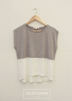 Heather Grey & Off White Loose T